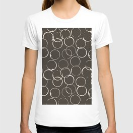 Circles Geometric Pattern Chocolate Brown Antique White T-shirt