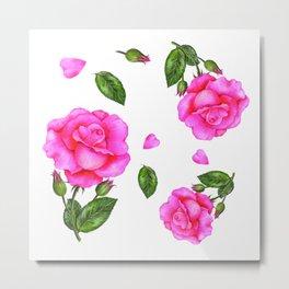 Shabby Chic Vintage Pink Rose Metal Print