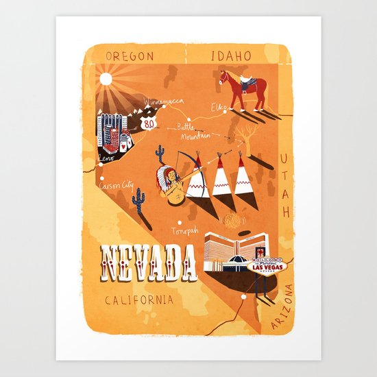 Nevada Map Art Print