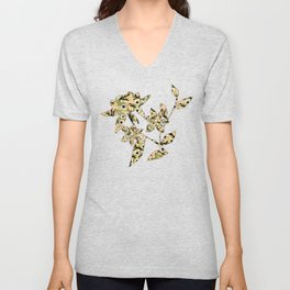 Spring Meadow Blooming Green Buds with White Floral Petals and Orange Peach Blossom Flower Pattern Unisex V-Neck