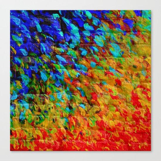 COLLISION COURSE - Bold Rainbow Splash Bricks Urban Jungle Ocean Waves Nature City Acrylic Painting Canvas Print