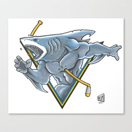 SJ Sharks Logo Canvas Print