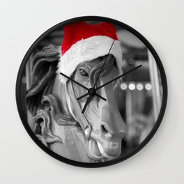 Santa Horse 1 Black and White with Red Hat Wall Clock