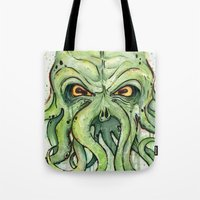 cthulhu Tote Bags featuring Cthulhu by Olechka