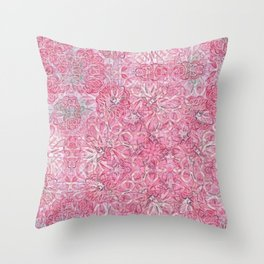 Flamingo Pink Chalk Blooms Throw Pillow