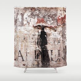 Painted wall with woman in black Shower Curtain