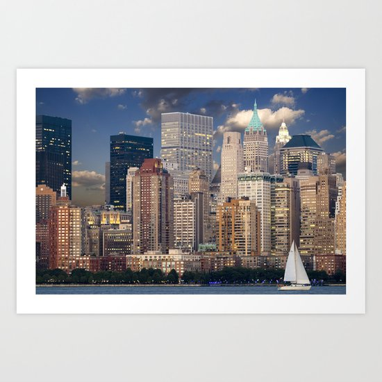 Downtown NYC at twilight Art Print