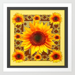 Brown & Yellow Sunflower Grey Art Art Print