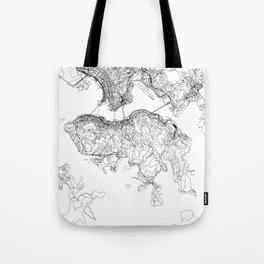 Hong Kong White Map Tote Bag