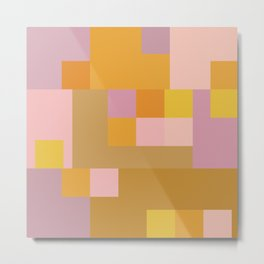 Modern Vintage Patchwork Squares in Lavender, Lilac, Mustard, and Orange Metal Print
