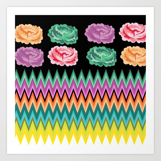 CHEVRON ROSES Art Print