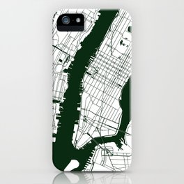 New York City White on Green Street Map iPhone Case