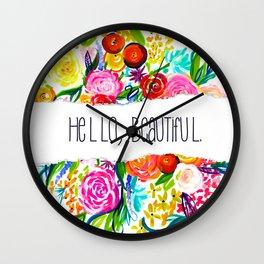 Neon Summer Floral + Hello Beautiful V2 Wall Clock