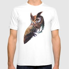 owl White Mens Fitted Tee LARGE