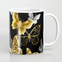 Gold and White Butterflies Coffee Mug