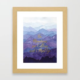Blue Watercolor Mountains Calling Framed Art Print