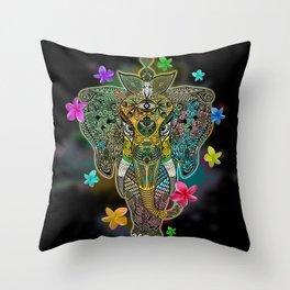 Elephant Zentangle Doodle Art  Throw Pillow