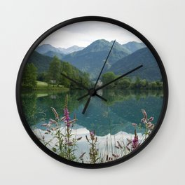 Mountain reflection  on lake Wall Clock