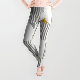 MID CENTURY MODERN Geometric Dynamic Triangle and Stripes Pattern yellow grey 02 Leggings