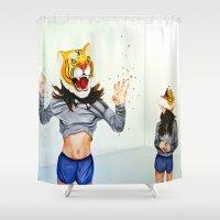 pills Shower Curtains featuring Tiger Mask & Pills by Kate Gordon Art