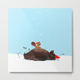 Brown Bear and Squirrel Metal Print