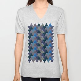 Blue Velvet Triangles Unisex V-Neck