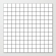 White Black Grid Minimalist Canvas Print