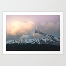 Pink Fog Mountain Morning Art Print