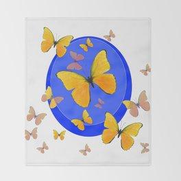 YELLOW BUTTERFLIES SWARM & BLUE RING MODERN ART Throw Blanket