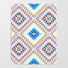 Colorful patchwork mosaic oriental kilim rug with traditional folk geometric ornament Poster