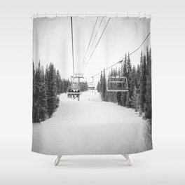 Ski Chair Lift B&W \\ Deep Snow Season Pass Dreams \\ Snowy Winter Mountains Landscape Photography Shower Curtain