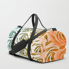 blooming rose pattern texture abstract background in blue and pink Duffle Bag