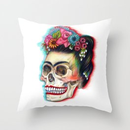 Frida's Skull Throw Pillow