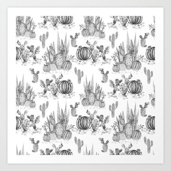 Watercolor cactuses print Art Print