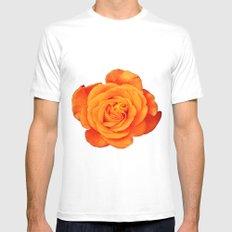 Romantic Rose Orange Mens Fitted Tee MEDIUM White