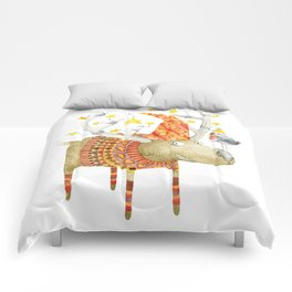 Christmas Reindeer watercolour art Comforters