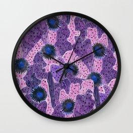 Blooming Cacti, Pink, Black and Violet Wall Clock