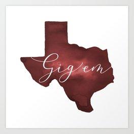 Texas Aggie Gig Em Watercolor Kunstdrucke