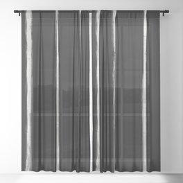 Skinny Strokes Gapped Vertical Off White on Black Sheer Curtain