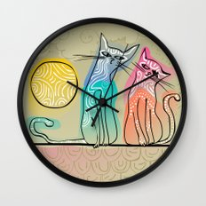 cute cats in love sitting on a roof Wall Clock