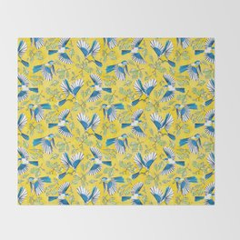 Flying Birds and Oak Leaves on Yellow Throw Blanket