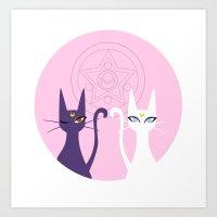 sailormoon Art Prints featuring Luna and Artemis - Pink by gracekansai