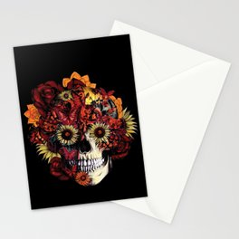 Full circle...Floral ohm skull Stationery Cards