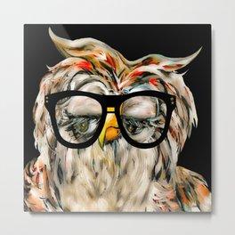 Hipster Owl Metal Print