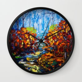 Misty Path oil painting with a Palette Knife Wall Clock