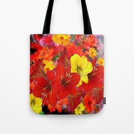 DECORATIVE RED-YELLOW AMARYLLIS BOUQUET Tote Bag