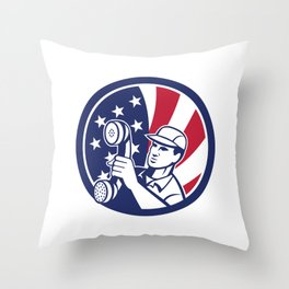 American Telephone Installation Repair Technician Icon Throw Pillow