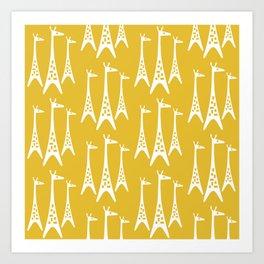 Mid Century Modern Giraffe Pattern 221 Mustard Yellow Kunstdrucke
