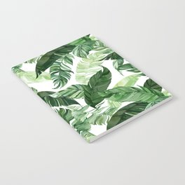Green leaf watercolor pattern Notebook