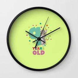 Nine Years 9th Birthday Party Cat T-Shirt Dsfzu Wall Clock